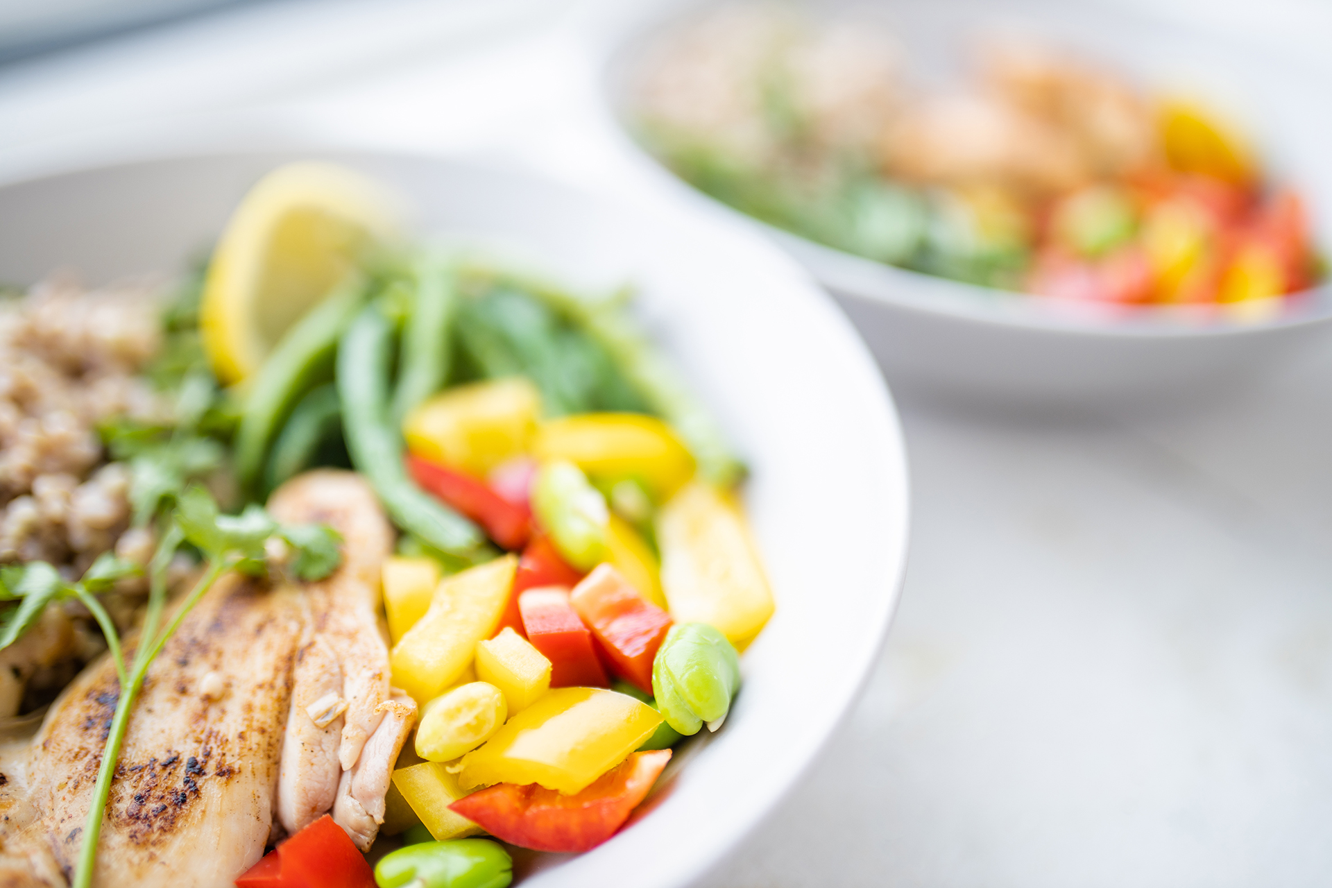 Chicken,And,Salmon,Dishes,With,Buckwheat,,Green,Beans,,Broad,Beans,